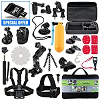Kit For GoPro Accessories Session Hero 3-4-5 Go Pro sj4000 sj5000 Equipment Case Bundle Bag Pack - Selfie Stick Pole Tripod Gear Grip Mount Suction Cup With 8GB Memory Card - By Action Camera Kit