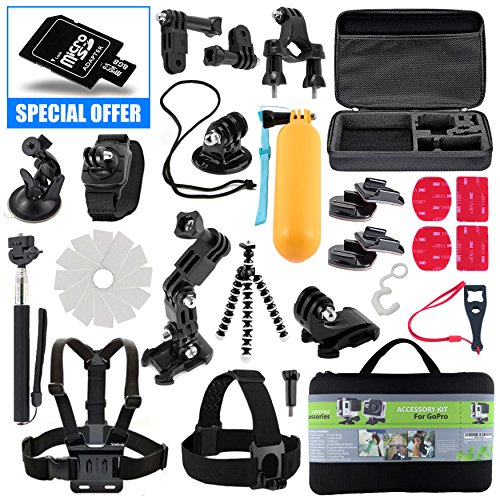 Kit For GoPro Accessories Session Hero 3-4-5 Go Pro sj4000 sj5000 Equipment Case Bundle Bag Pack - Selfie Stick Pole Tripod Gear Grip Mount Suction Cup With 8GB Memory Card - By Action Camera Kit (Dual Head 2 Go compare prices)