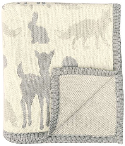 "DARZZI Woodland Animals Baby Blanket, Grey Combo, 35""x45"""