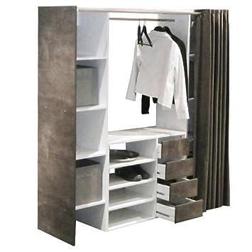 Dressing estensibile CHICA 2 colonne 4 cassetti, colore: bianco/grigio, con tende, colore: antracite