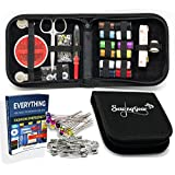 High Quality Compact Sewing Kit for Home, Travel, Camping & Emergency + eBook, 100 Extra Pins & Safety Pins. Premium Sew Supplies Expansive Case Set. Best Gift for Beginners, Kids, Girls, Boys, Adults