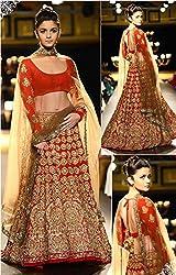 Ashvah Aliya Bhatt Red Designer Lehenga Choli