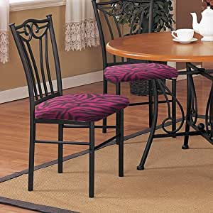 Amazon.com - 2 New Black Finish Metal Dining Chairs With A ...