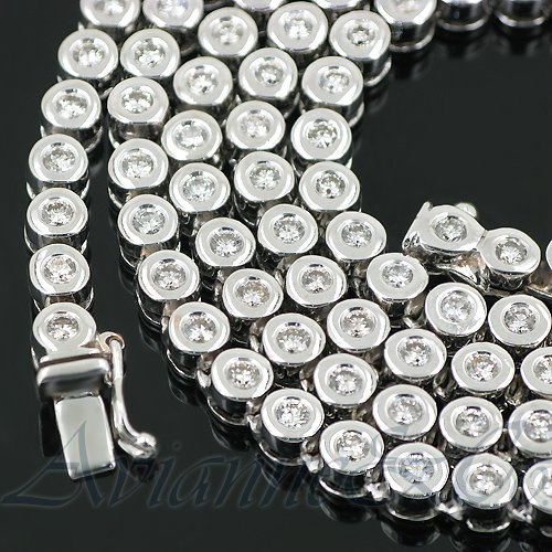 14K White Gold Mens Diamond Chain Necklace 12.00