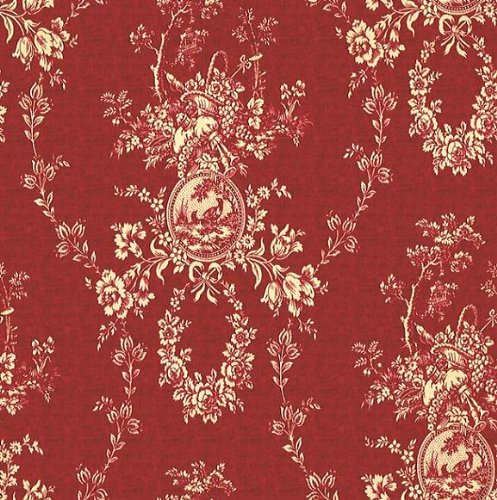 "Details for 54"" Fabric, Country House Color Red, Waverly Toile Fabric By the Yard by Waverly"