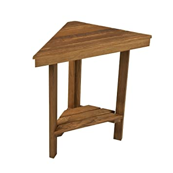 "Teak Mini Corner Bench (17"" Face x 12"" Sides x 8.5"" Deep)"