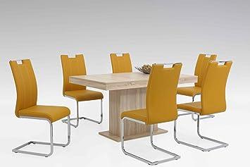 Tischgruppe Lubeck in Kunstleder mit Tisch und Stuhlen Modern