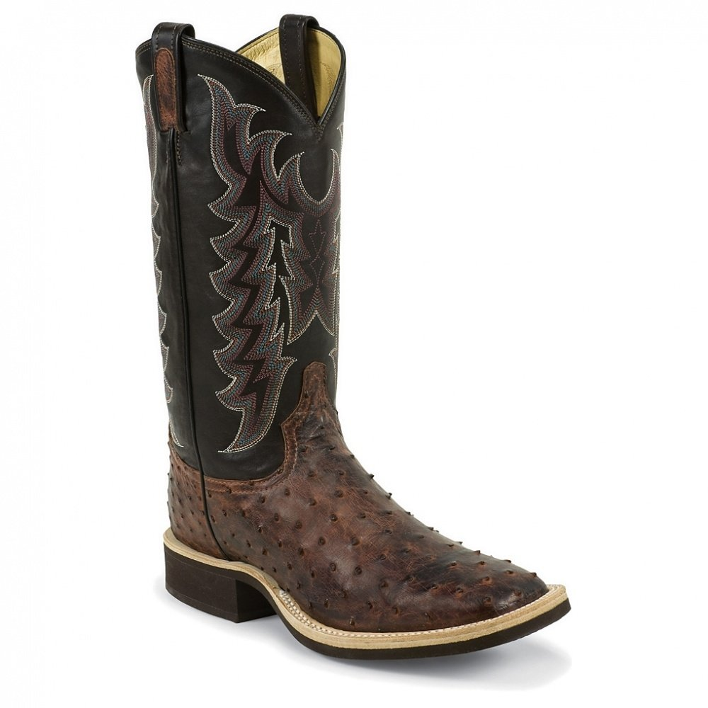 Tony Lama Men's Vintage Full Quill Ostrich Crepe Cowboy Boot Wide Square Toe 0