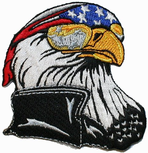 Bald Eagle Biker Embroidered Motorcycle Embroidered Iron On Patch