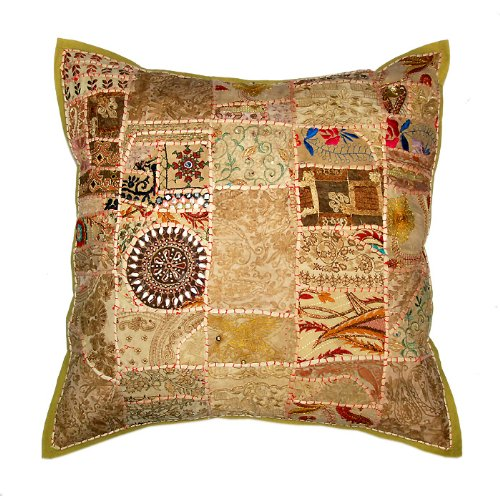 Marvellous Home Decor Art Rajrang Embroidery Work & Patch Work Cotton Light Brown Color Cushion Cover/ Throw Pillow Cover Comforter Sets India (Size 16x16) (2 Pcs)
