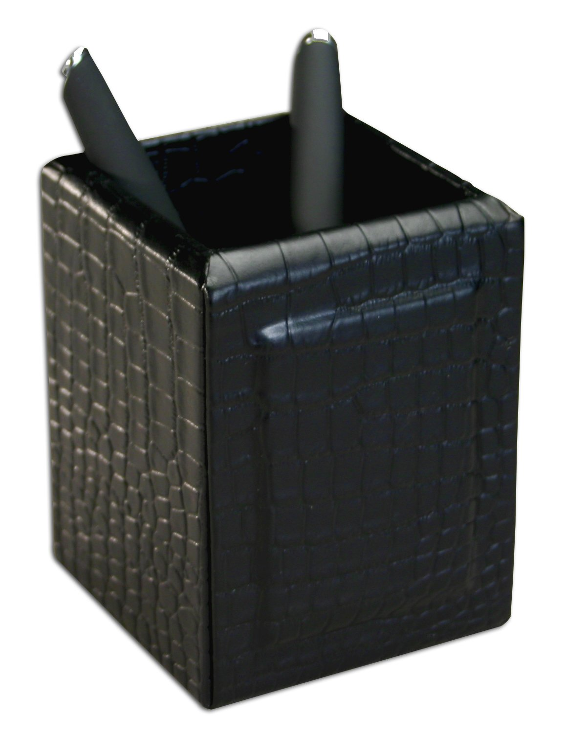 Leather Embossed Black Crocodile Pencil Cup