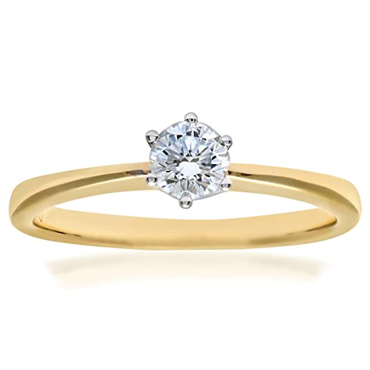 Naava 18ct 6 Claw Engagement Ring, H/VVS2 EGL Certified Diamond, Round Brilliant, 0.34ct