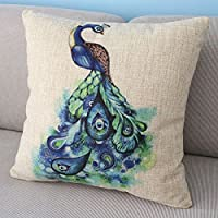 Animal Style Beautiful Colorful Peafowl Throw Pillow Case Decor Cushion Covers Square 18*18 Inch Beige Cotton Blend Linen from Generic