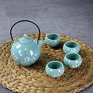 XIDUOBAO Fresh Style Tranditional Japanese Style Teapot Tea Set Porcelain Kungfu Tea Set Chinese Celadon Gongfu Tea Set Green Porcelain Tea Pot Ceramic Gongfu Teacup Home/office/travel Teaset.
