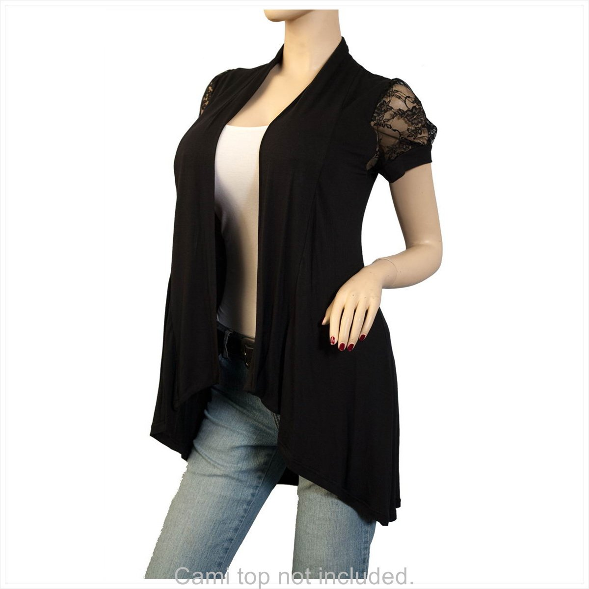 Plus Size Laced Black Open Front Cardigan