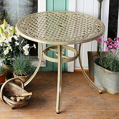 Hannah mesa y 4sillas | 90cm redonda muebles al aire libre Set, aluminio, arena, Rose Chairs