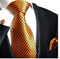 Paul Malone Necktie, Pocket Square and Cufflinks 100% Silk Orange Navy