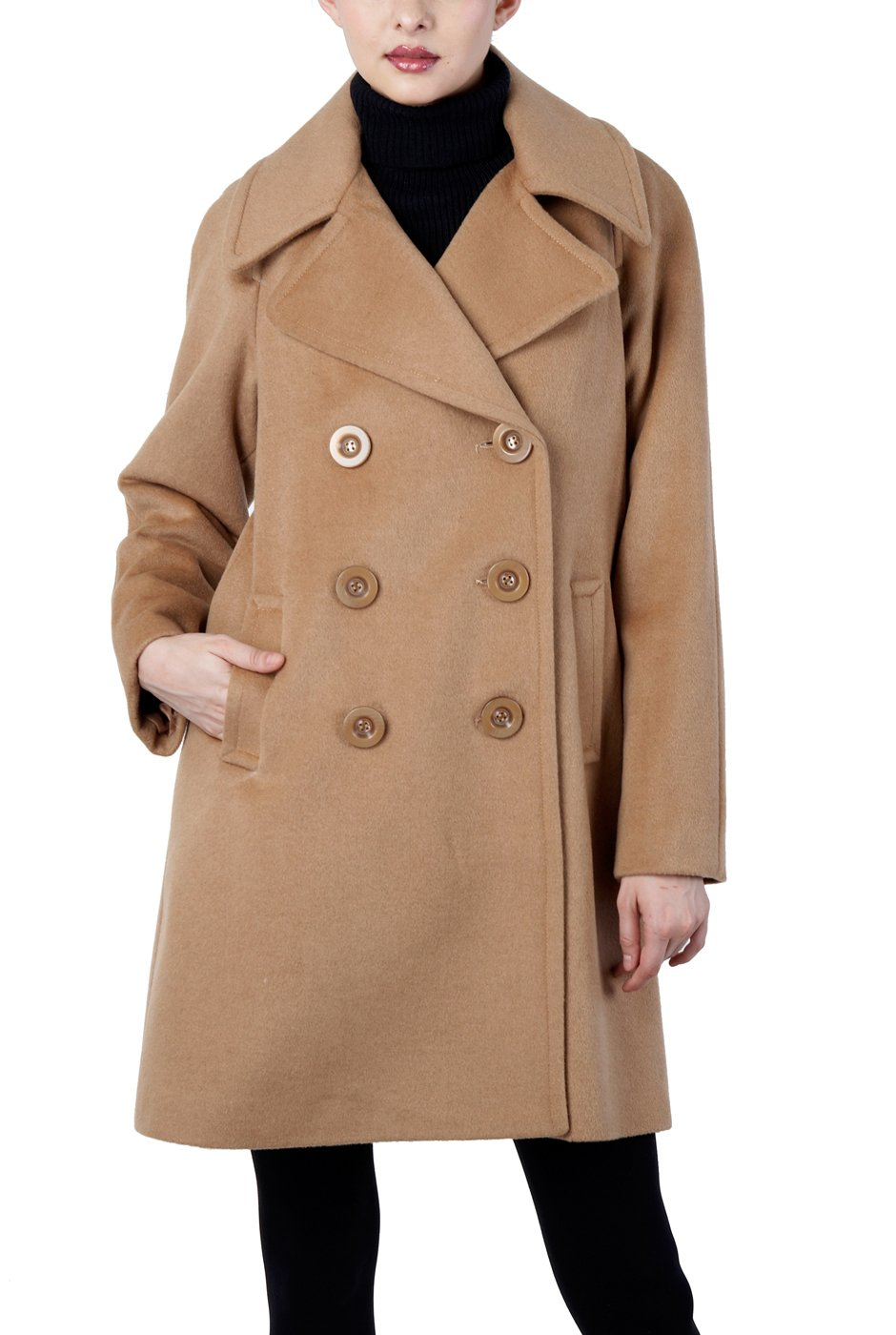 Phistic Women's Double Breasted Wool Blend Pea Coat