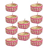 Kriti Creations Set Of 10 Traditional Wax Filled Clay Diyas - B016S20Y18