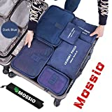 Packing Cubes,Mossio 7 Sets Waterproof Lightweight Laundry Bag Travel Organizer with Shoe Bag Dark Blue