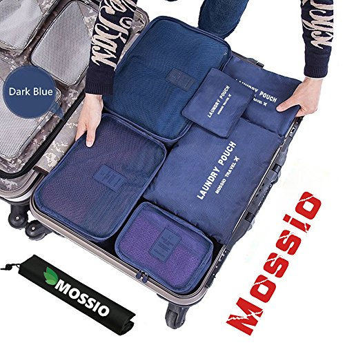 Packing Cubes,Mossio 7 Sets Waterproof Lightweight Laundry Organizer Dark Blue (Target Gift Card $10 compare prices)