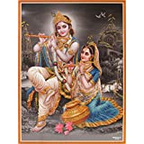 Lord Krishna / Shree Krishna / Shri Krishna With Radha / Radha-Krishna Poster (Size: 9X11 Inches Unframed)