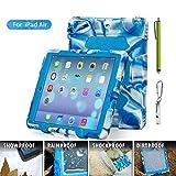 ACEGUARDER Apple Ipad Air Ipad 5 Case Waterproof Rainproof Shockproof Kids Proof Case for Ipad 5 (Gifts Outdoor Carabiner + Whistle + Handwritten Touch Pen) (Aceguarder Brand) (NAVY/BLUE)