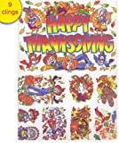 Thanksgiving Glass Stickers Clings Decorations - Reusable Every Year