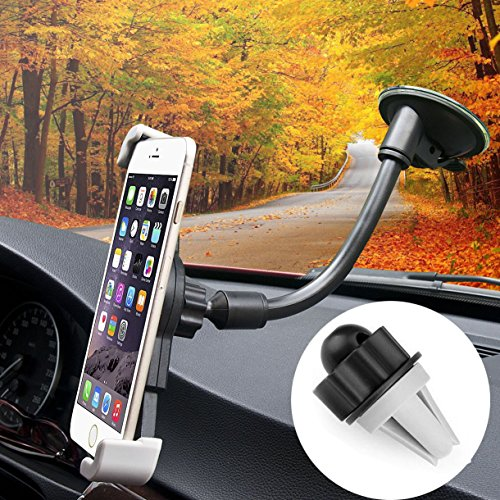 MABRATM Smartphone Car Holder Air Vent Car Mount Holder Universal Cell Phone Holder for iPhone 7 Plus 6s 6 Plus Samsung Galaxy S7 Edge S6 Edge LG Nexus HTC and More (Black)