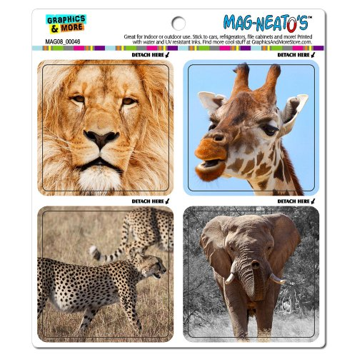 Graphics And More African Animals Giraffe Elephant Lion Cheetah Mag-Neato'S Automotive Car Refrigerator Locker Vinyl Magnet Set front-641526