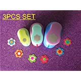 3PCS Circle and Petal Shaped craft punch set School Scrapbook Gifts DIY Paper Cutter EVA foam Flowers Hole Punches