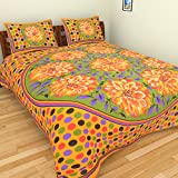 Dishu 200 TC Double Bedsheet With 2 Pillow Cover - Modern, Multicolour