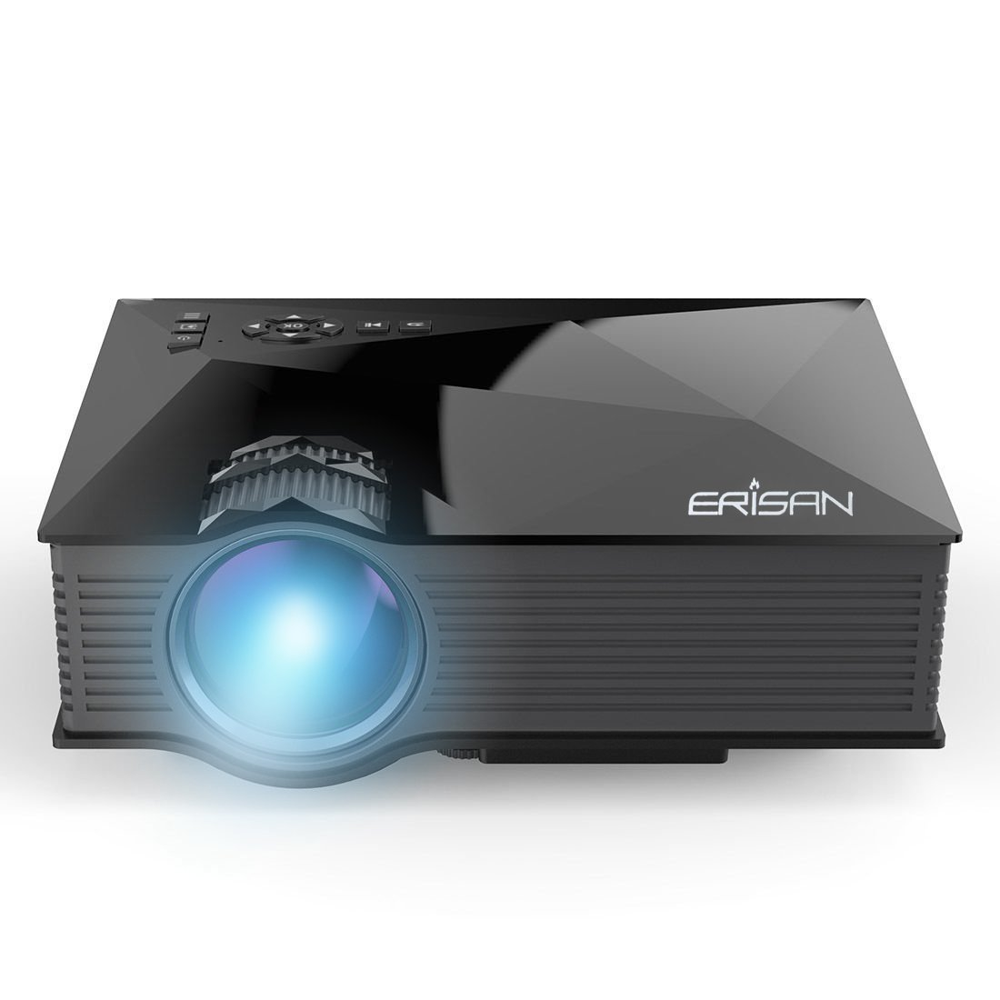 "ERISAN Updated ER46 1200 Lumens WiFi Wireless Full Color 130"" Image Pro Mini Portable LCD LED Home Theater Cinema Game Projector - Support HD 1080P Video /IP/IR/USB/SD/HDMI/VGA"