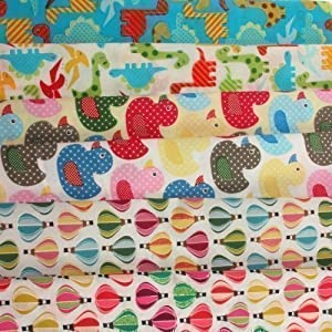Fabric bundle 6x childrens print fat quarters for craft for Childrens fabric bundles