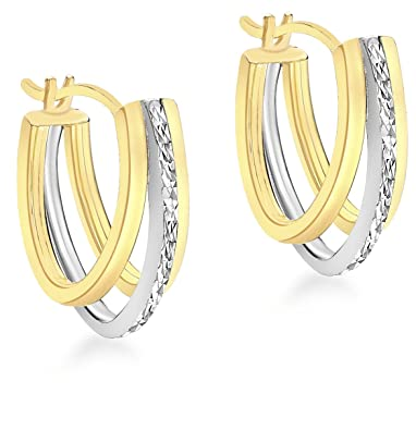 Carissima Gold 9ct 2 Colour Gold Diamond Cut Triple Huggy Earrings