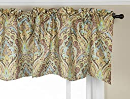 Stylemaster Zoe 56 by 17-Inch Lined Printed Scalloped Valance, Mocha