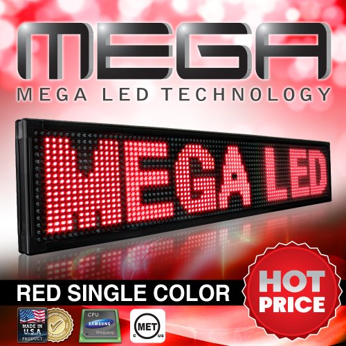 """Ul Listed Single Red Color Led Sign - Programmable Animated Message Display Board For Outdoor 26Mm Pitch, 85""""X19""""X3"""""""