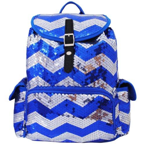 Sequin Chevron Pattern Drawstring Backpack Bookbag (Blue)
