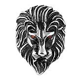 HZMAN Men's Biker Vintage Stainless Steel Ruby Eyes Lion Ring Silver (8)