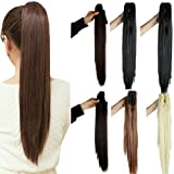 S-noilite Long Thick Claw Jaw Ponytail Big Wave Clip in Pony Tail Hair Extension Extensions (21 inches-straight, natural black) (Color: natural black, Tamaño: 21 inches-straight)