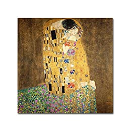 Trademark Fine Art The Kiss, 1907-08 by Gustav Klimt Canvas Wall Art, 35x35-Inch