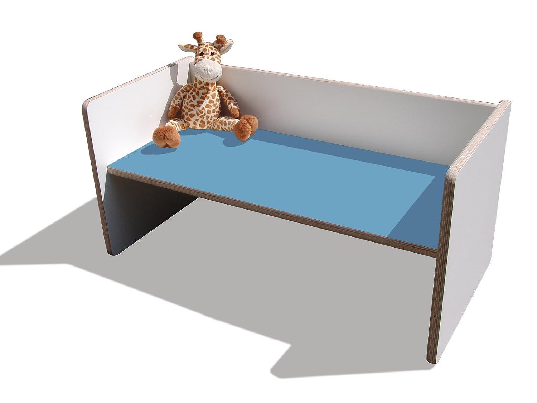 Kinder Wendetisch/Bank – weiß mit hellblauer Sitzfläche, sehr stabil