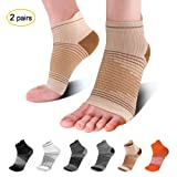Compression Foot Sleeves for Men & Women (2 Pairs)- Best Plantar Fasciitis Support Socks for Plantar Fasciitis Pain Relief, Heel Pain, Compression Sleeve Foot with Arch Support. Nude L (Color: Beige(2 Pairs), Tamaño: Large (Men's 9-12/Women's 9.5-12.5))