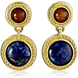 Ben-Amun Jewelry Bohemian with Tiger Eye and Sodalite Stones Drop Earrings