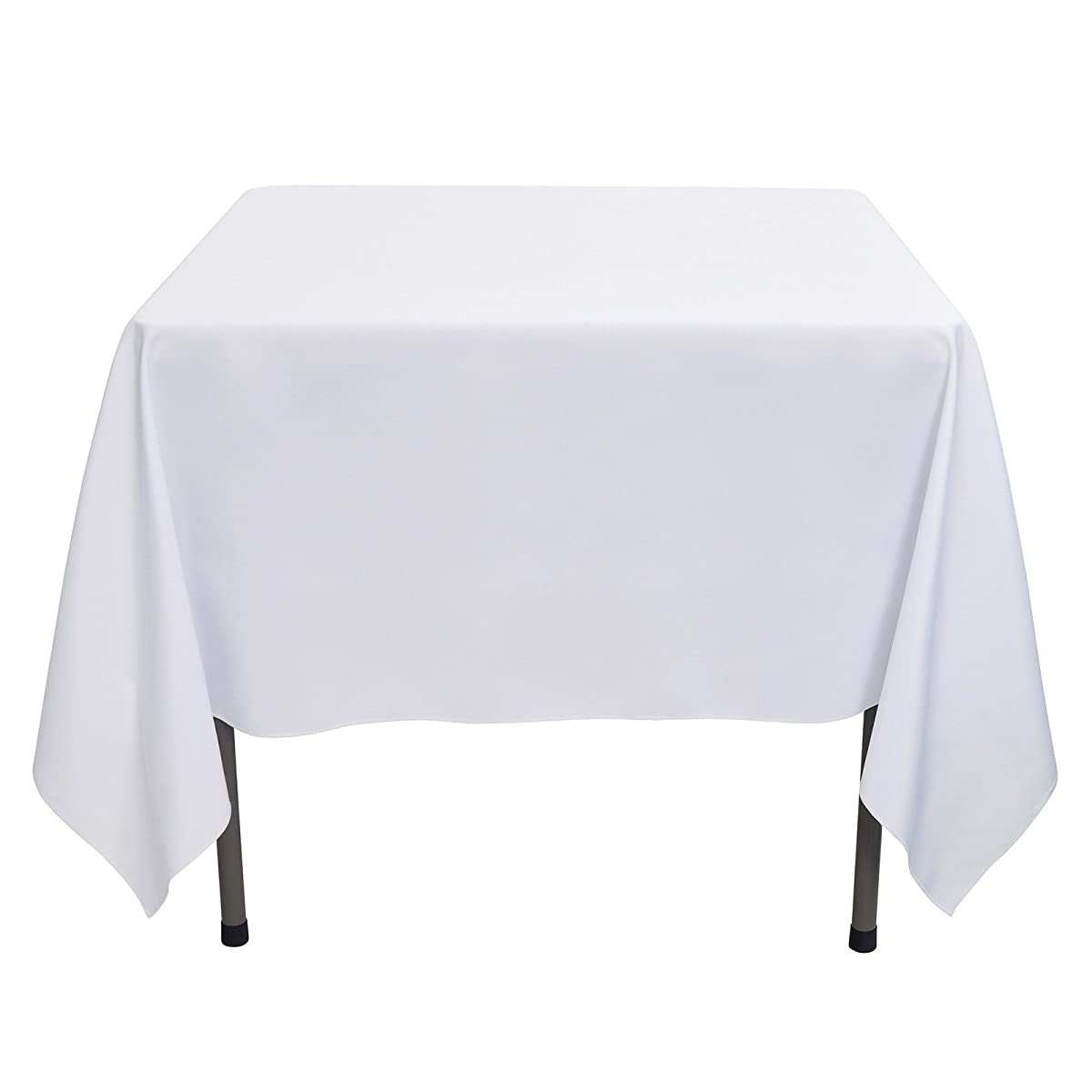 VEEYOO 70 inch Square Solid Polyester Tablecloth for Wedding Restaurant Party, White