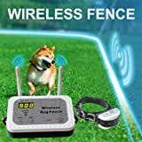 Wireless Dog Fence Electric Pet Containment System, Safe Effective Vibrate/Shock Dog Fence, Adjustable Control Range 900 Feet & Display Distance, Rechargeable Waterproof Collar (White, 1 Dog System) (Color: White)