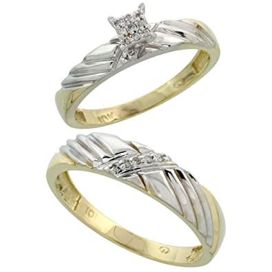 9ct Gold 2-Piece Diamond Ring Set, 3.5mm Engagement Ring & 5mm Man's Wedding Band