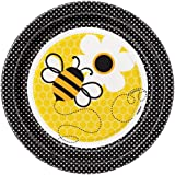 "Unique 7"" Bumble Bee Dessert Plates (8 Count), Yellow"