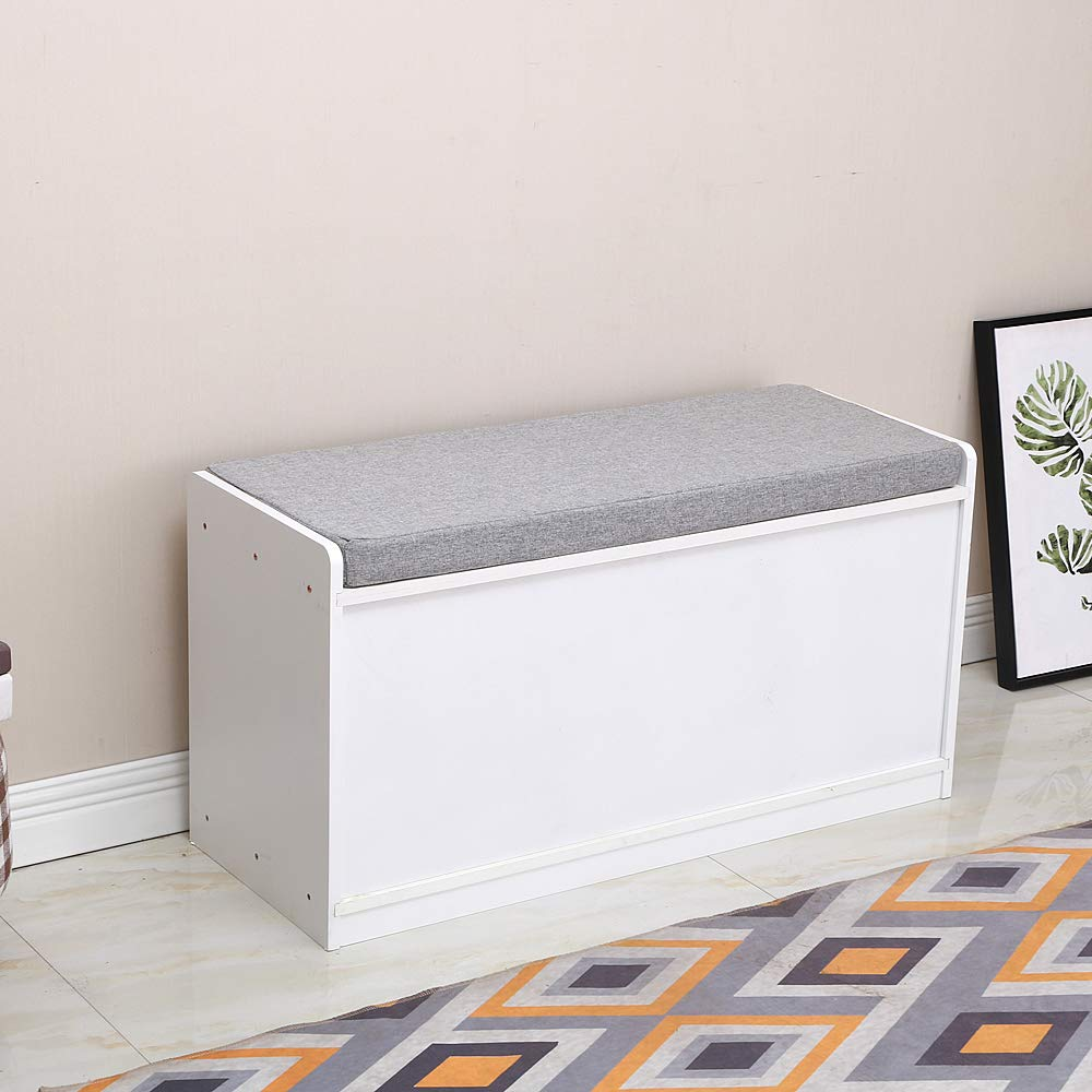 Fabric Shoe Cabinet with Seat Cushion for Entryway, White