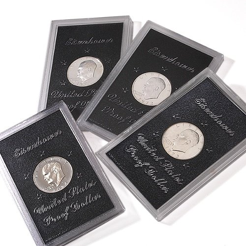 1971 -1974 Eisenhower Silver Dollar 4-Coin Brown Pack Proof Set